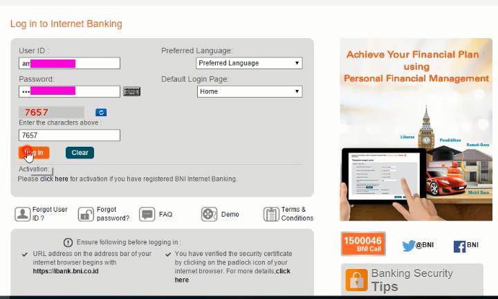 1. Daftar terlebih dahulu di ATM atau bisa lewat CS Bank BNI di kantor cabang terdekat, Kemudian Masuk ke halaman internet banking BNI di https://ibank.bni.co.id/